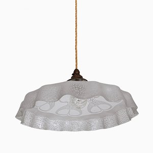 Vintage French Etched Frosted Frill Ceiling Lamp