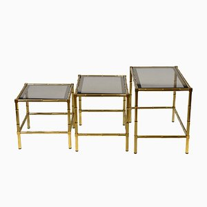 French Faux Bamboo and Brass Nesting Tables, 1970s