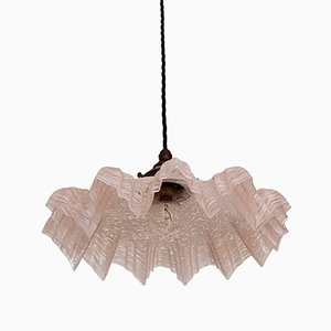 Vintage Pink Mottled Clichy Glass Handkerchief Ceiling Lamp
