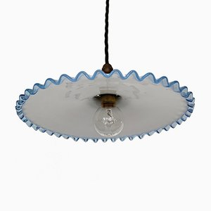 Vintage Blue Rimmed Polished Glass Handkerchief Ceiling Lamp