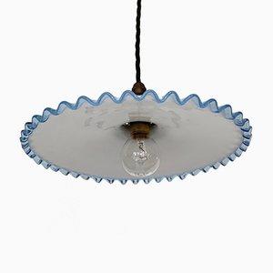 Vintage Handkerchief Deckenlampe aus poliertem Glas mit blauem gezackten Rand