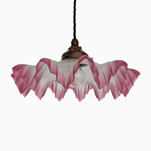 Vintage Pink Edged Frosted Frill Handkerchief Ceiling Lamp