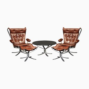 Chrome and Leather Lounge Chairs by Sigurd Ressell for Vatne Møbler, 1971, Set of 5