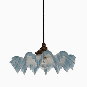 Vintage Blue Edged Frosted Frill Handkerchief Ceiling Lamp