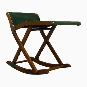 Italian Beech and Green Velvet Folding Rocking Stool, 1950s