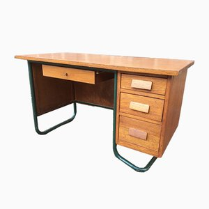 Oak Veneer School Desk, 1960s
