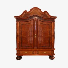 Antique German Baroque Cupboard in Oak and Walnut, 1740s