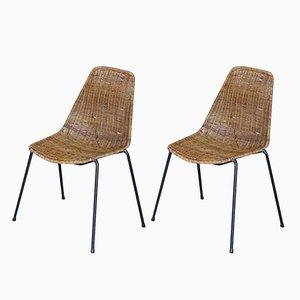 Sillas de cesta vintage de Gian Franco Legler para Pierantonio Bonacina. Juego de 2