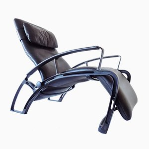 Black Leather IP84S Lounge Chair by Ferdinand A. Porsche for Interprofil, 1980s