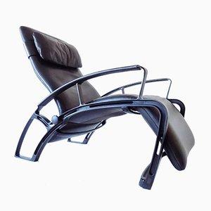 Black Leather IP84S Lounge Chair by Ferdinand A. Porsche for Interprofil, 1980s