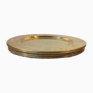 Vintage Danish Brass Plates from Cawa, 1960s, Set of 8