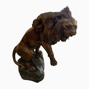 Scultura di leone antica in terracotta di Thomas François Cartier