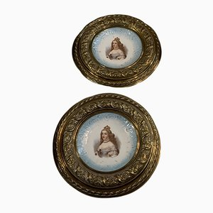 Antique Brass-Framed Porcelain Plate from MHC, Set of 2