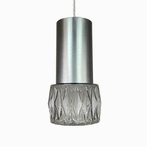 Mid-Century Space Age Chrome and Glass Ceiling Lamp