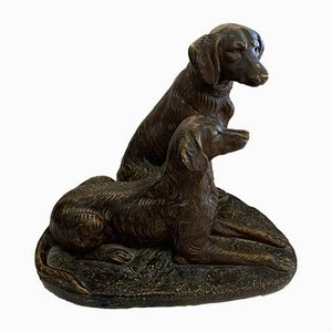 Bronzed Plaster Dog Sculpture from Melun, 1920s