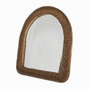 Vintage Spiegel mit Rahmen aus Rattan & Bambus
