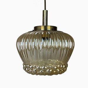 Mid-Century Space Age Chromed Metal and Glass Ceiling Lamp