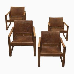 Vintage Swedish Leather Armchairs, Set of 4