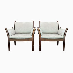 Vintage Mahogany and Alcantara Lounge Chairs by Illum Wikkelsø for CFC Silkeborg, Set of 2