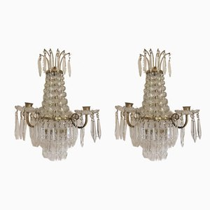 Antique Crystal Wall Candleholders, Set of 2