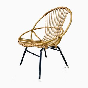 Rattan Basket Lounge Chair, 1960s