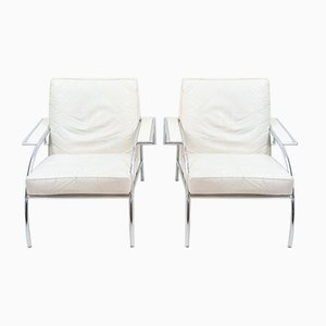 Model 4735 White Leather Reclining Lounge Chairs by Gerard Vollenbrock for De Ster Gelderland, 1984, Set of 2