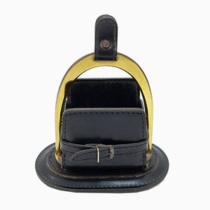 French Stitch Leather Cardholder by Jacques Adnet, 1962