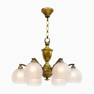 French 6 Light Chandelier, 1920s