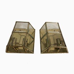 Wandleuchten aus Messing & Glas, 1960er, 2er Set