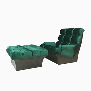 Green Velvet Armchair and Ottoman from Lurashell, 1970s, Set of 2
