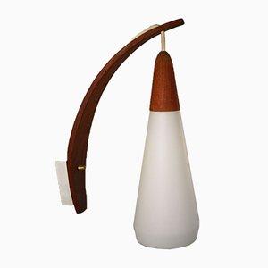 Dänische Mid-Century Wandlampe aus Teak & weißem Glas