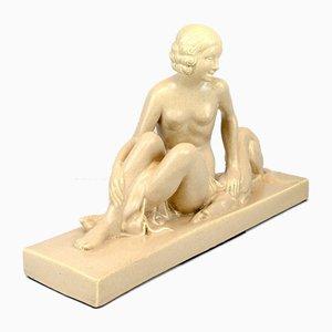 Dame mit Windhund Figur von Lemanceau, 1930er