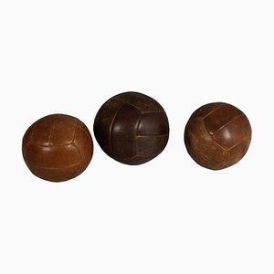 Balones medicinales de cuero, años 40. Juego de 3