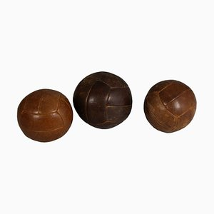 Leather Medicine Balls, 1940s, Set of 3