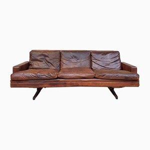 Sofá de cuero y palisandro de Fredrik A. Kayser para Vatne Møbler, años 60