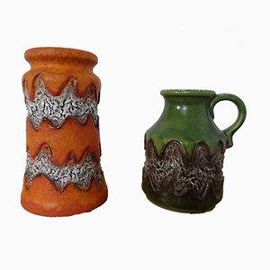 Jarrones de Alemania Occidental de cerámica de Dümler & Breiden, años 70. Juego de 2