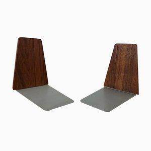 Sujetalibros daneses de teca de Kai Kristiansen para Feldballes Møbelfabrik, años 60. Juego de 2
