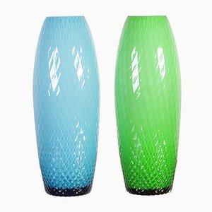 Vases Art Verts et Bleus d'Egermann, années 80, Set de 2