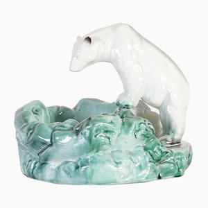 Porcelain Polar Bear Sculpture from Ditmar Urbach, 1950s