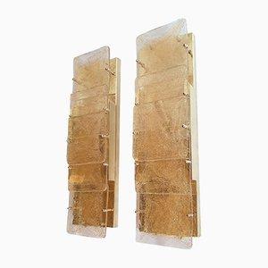 Apliques grandes de cristal de Murano y latón de Mazzega, años 70. Juego de 2