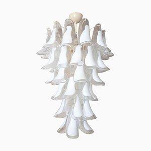 Großer italienischer Kronleuchter mit Behang aus weißem & klarem Muranoglas von Mazzega, 1970er