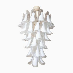 Large Italian White and Clear Murano Glass Chandelier from Mazzega, 1970s