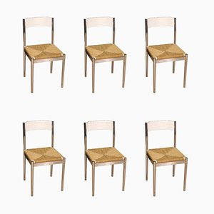 Italian Chromed Metal and Straw Side Chairs, 1970s, Set of 6