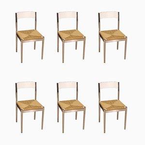Italienische Beistellstühle aus verchromtem Metall & Strohgeflecht, 1970er, 6er Set