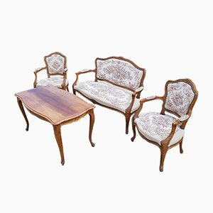 Danish Mahogany Sofa, Armchairs, and Coffee Table Living Room Set, 1950s, Set of 4