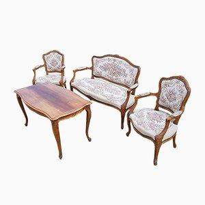 Juego de salón con sofá, sillones y mesa de centro danés de caoba, años 50. Juego de 4