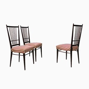 Mahogany and Satin Dining Chairs from Borsani, 1950s, Set of 6
