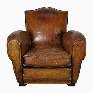 Vintage French Moustache Back Cognac Leather Club Chair