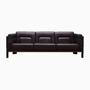 Vintage Danish Brown Leather and Oak Sofa