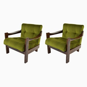 Spanish Walnut and Green Velvet Armchairs from AG Barcelona, 1970s, Set of 2
